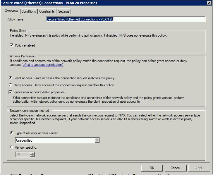 cisco switch 802.1x port authentication nps guide vlan