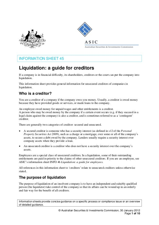 asic liquidation guide for creditors